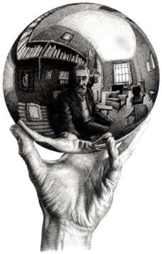Escher in a reflecting sphere for Miroir spherique